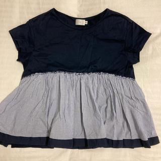 ドゥロワー(Drawer)のyori フリルTシャツ ネイビー(Tシャツ/カットソー(半袖/袖なし))