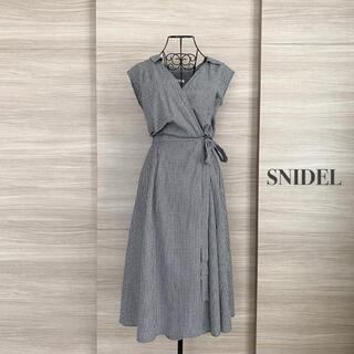 snidel - SNIDEL スナイデル チェック柄 ノースリカシュクールシャツワンピース