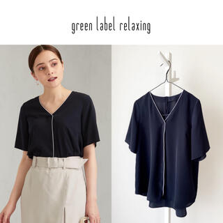 green label relaxing - green label relaxing ハイショクラインタックVネックブラウス
