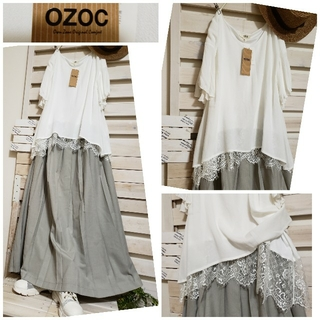 OZOC - 🌻新品OZOC/裾レースインナー 重ね風チュニック