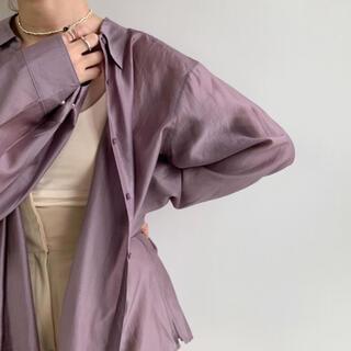 【求】Amiur tuck button sheer shirt ラベンダー