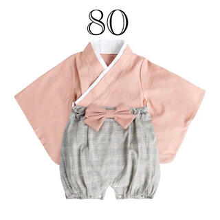【限定価格⭐️】袴ロンパース ピンク 80㎝ セットアップ 和風 着物 女の子
