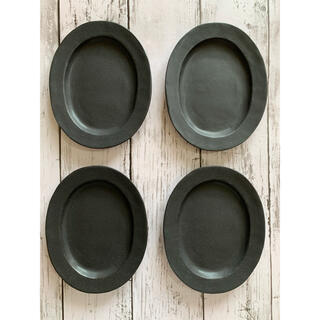 リムオーバル皿マット黒4枚 小皿 美濃焼オシャレ 陶器 楕円 副菜皿 デザート皿