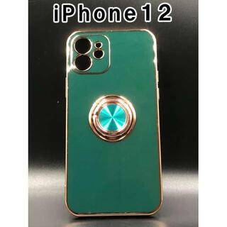 iPhone12 ケース シンプル 韓国 人気 スマホ グリーン F