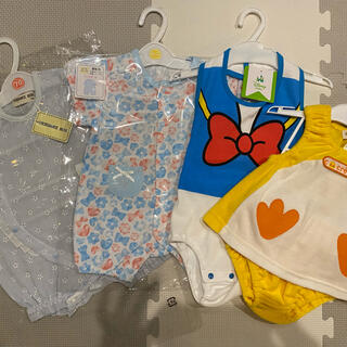 ニシマツヤ(西松屋)の新品 新生児夏服 4点セット 未使用品(ロンパース)
