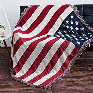 マルチカバー ベッドカバー フリンジ付き(アメリカ国旗・180m×230cm)