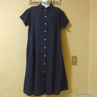サマンサモスモス(SM2)のSamansa Mos2サマンサモスモス♡柔らか紺色シャツワンピース(ロングワンピース/マキシワンピース)