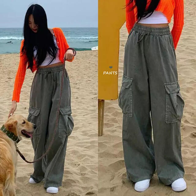 韓国デザイン♡スラっと美脚魅せ♪ワイドパンツ お洒落 脚長 美脚 クール レディースのパンツ(カジュアルパンツ)の商品写真