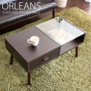 センターテーブル ORLEANS 800×445×410mm 引き出し ブラウン(ローテーブル)