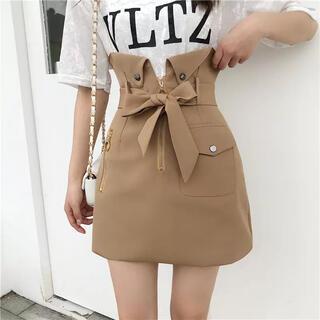 【新品未使用】リボンハイウエストスカート 2色