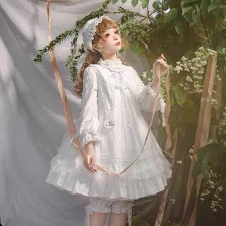 ベイビーザスターズシャインブライト(BABY,THE STARS SHINE BRIGHT)の骨董人形 白ワンピース、付け襟、ヘアクリップセット ロリータ ゆめかわ 地雷系(ひざ丈ワンピース)