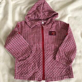 ニシマツヤ(西松屋)の赤チェック 95 薄手 長袖パーカー 女の子 男の子 西松屋(ジャケット/上着)