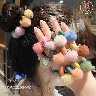 大人可愛い ヘアゴム ファーポンポン ヘアアクセサリー 髪飾 女性 髪留め ゴム