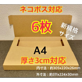 ★新商品【6枚】新規格A4サイズ(最大)ネコポス対応 段ボール箱