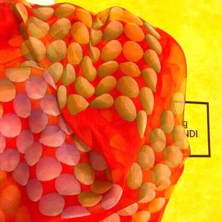 フェンディ(FENDI)の希少 極美 フェンディ  シルクスカーフ シフォンタイプ magical dot(バンダナ/スカーフ)