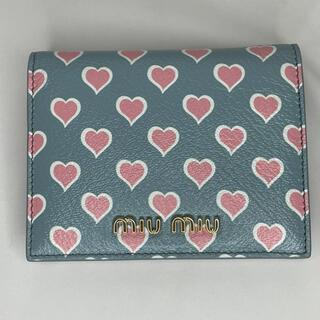 miumiu - miu miu ハート総柄 バイカラー マドラスレザー 二つ折り財布 ブルー