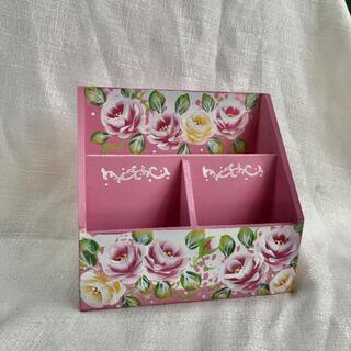 LOVE ROSE薔薇 ペン立て 小物入れ ピンクB