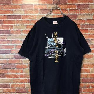 エクストララージ(XLARGE)のエクストララージ XLARGE 半袖tシャツ ドラゴン 古着 ネイビー Lサイズ(Tシャツ/カットソー(半袖/袖なし))