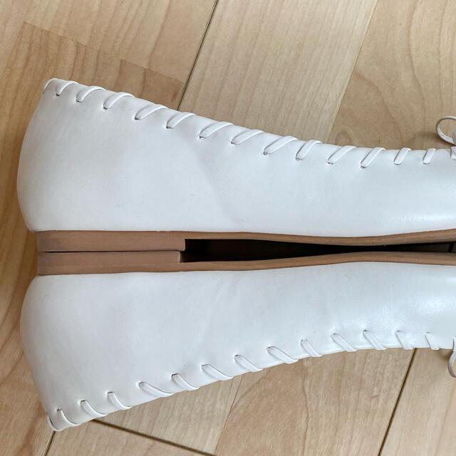 RANDA(ランダ)のRANDA スクエアトゥ リボン編みフラットパンプス レディースの靴/シューズ(バレエシューズ)の商品写真