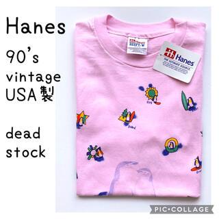 90s USA製 vintage Hanes ペンギン プリント Tシャツ(Tシャツ/カットソー(半袖/袖なし))