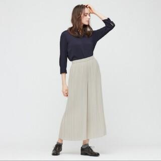 UNIQLO - ユニクロ UNIQLO シフォンプリーツスカートパンツ タグ付XL  ナチュラル