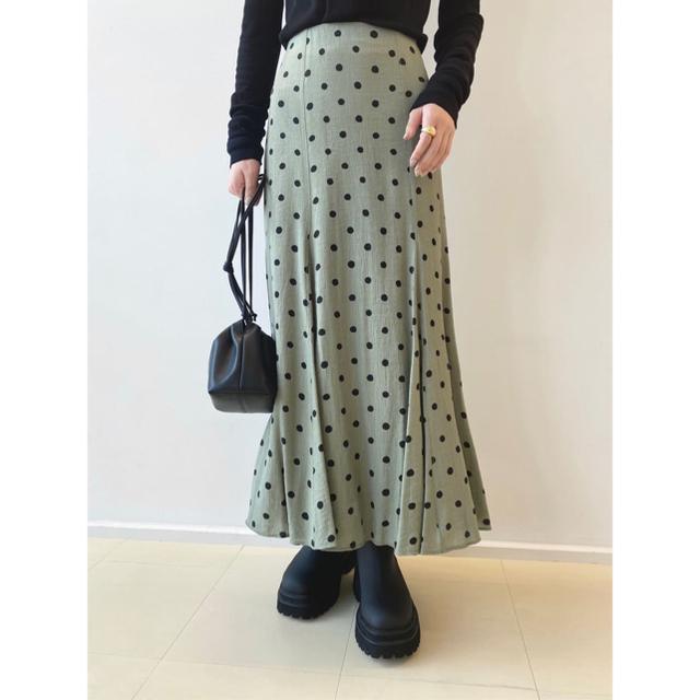 Mila Owen(ミラオーウェン)のMILAOWEN ミラオーウェン マチフレアSTデザインナロースカート 緑 レディースのワンピース(ロングワンピース/マキシワンピース)の商品写真