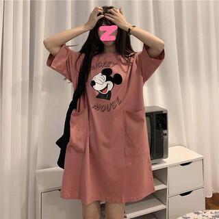 ディズニー(Disney)のミッキーマウス オーバーサイズTシャツワンピース(ひざ丈ワンピース)