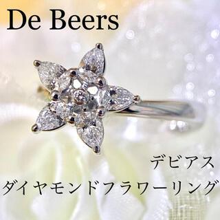 DE BEERS - レア!デビアス 極上 ダイヤモンド フラワー リング 鑑定書なし ダイヤ WG