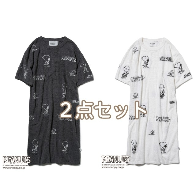 gelato pique(ジェラートピケ)の新品 ジェラートピケ スヌーピー モノグラムジャガードドレス ワンピース 2色 レディースのルームウェア/パジャマ(ルームウェア)の商品写真