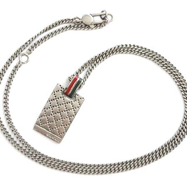 Gucci(グッチ)のグッチ チェーンネックレス ロゴ スクエア スターリングシルバー J4325 メンズのアクセサリー(ネックレス)の商品写真