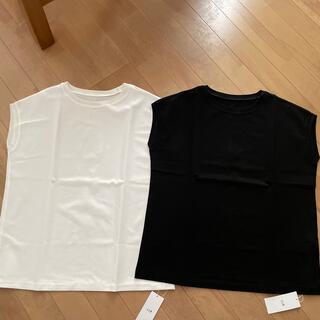 ニジュウサンク(23区)の23区 フレンチスリーブ コットンTシャツ 2色セット 新品タグ付き(Tシャツ(半袖/袖なし))