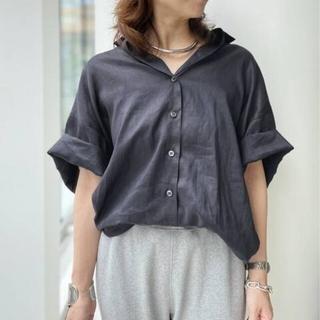 L'Appartement DEUXIEME CLASSE - 新品■Ramie Half Sleeve Shirt■ネイビー■アパルトモン