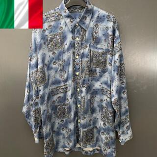 総柄長袖シャツ イタリア製 柄シャツ ブルー 古着