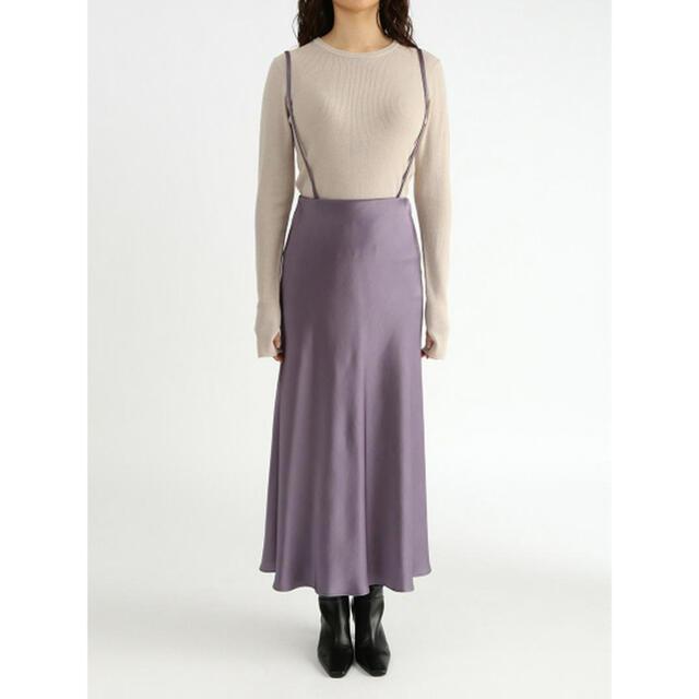 Mila Owen(ミラオーウェン)のmila owen  サスペンダー付きサテンナローロングスカート   レディースのスカート(ロングスカート)の商品写真