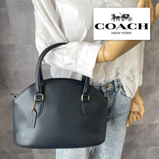 COACH - 【美品】COACH コーチ 本革 オールド ハンドバッグ レザー ネイビー