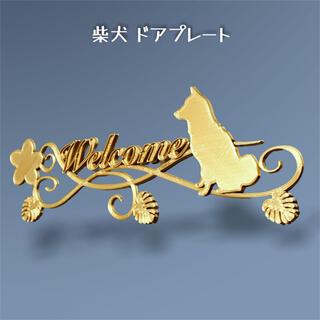 柴犬 ドアプレート小 アンティークゴールド色(ウェルカムボード)