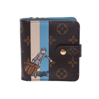 ルイヴィトン(LOUIS VUITTON)のルイヴィトン モノグラム グルーム コンパクトジップ 二つ折り財布 ブラウ(財布)