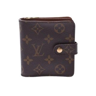 ルイヴィトン(LOUIS VUITTON)のルイヴィトン モノグラム コンパクトジップ  二つ折り財布 ブラウン(財布)