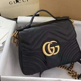Gucci - GUCCI GGマーモント ミニトップハンドルバッグ