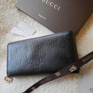 Gucci - GUCCI グッチ ラウンドファスナー シマレザー 男女兼用 ブラック