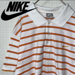 ナイキ(NIKE)のNIKE ボーダー ポロシャツ オーバーサイズ 刺繍ロゴ 銀タグ XL(ポロシャツ)