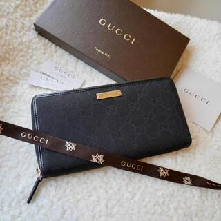 Gucci - GUCCI グッチ ラウンドファスナー キャンバスレザー 男女兼用 ブラック