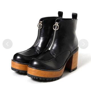 JEANASIS - ジーナシス    厚底ブーツ ジップデザインピールブーツ ブラック L