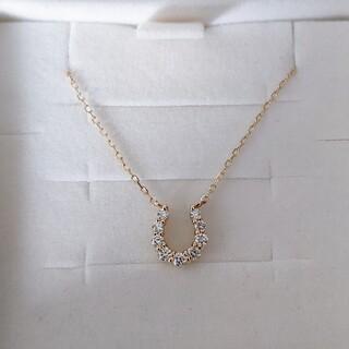 4℃ - 4℃ ダイヤモンド ホースシュー ネックレス K18YG 1.0g