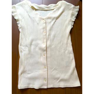 アクアガール(aquagirl)のリブトップス ホワイト Mサイズ(カットソー(半袖/袖なし))