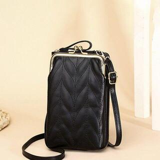 【ブラック】 ミニショルダー スマホバッグ レディース 縦型 財布 シンプル