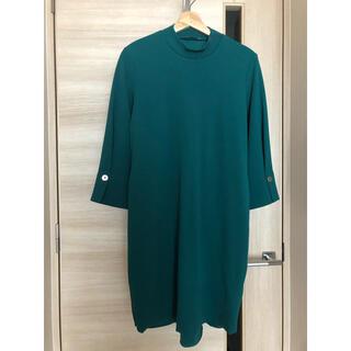 ベルーナ(Belluna)の新品未使用ZARA 膝丈ワンピース グリーン ベルト付七分袖(ひざ丈ワンピース)