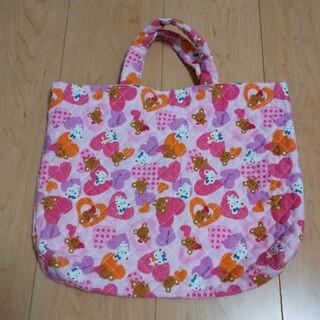 ハンドメイド レッスンバッグ 手提げバッグ キルト 女の子 クマ ハート ピンク(バッグ/レッスンバッグ)