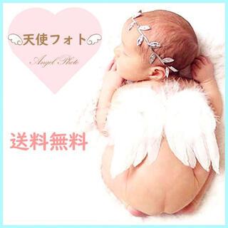 ニューボーンフォト ベビー 赤ちゃんコスプレ 天使の羽 リーフバンド 記念写真F