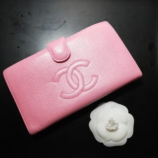 CHANEL - 週末お値下げ♥CHANELキャビアスキンがま口長財布/ピンク